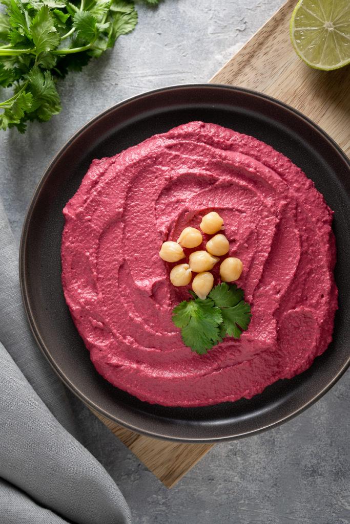 Beet hummus food photography