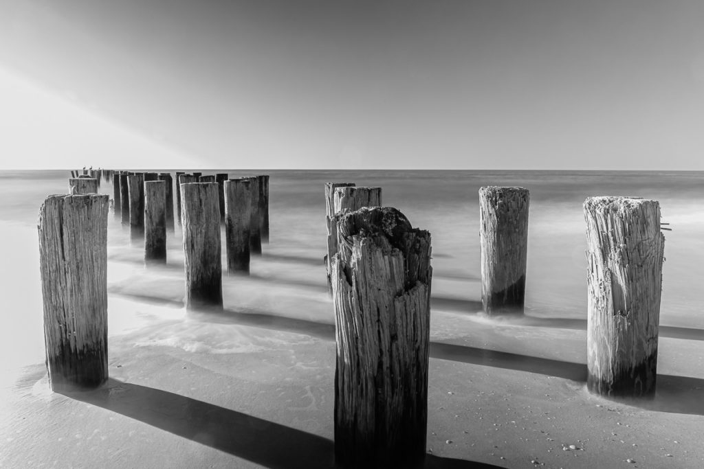 Black and white photography of Naples old pier